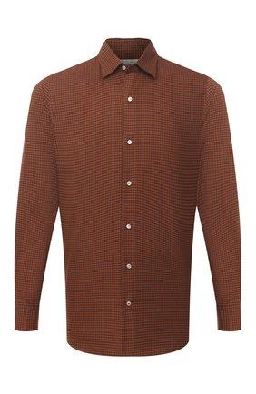 Мужская хлопковая рубашка LORO PIANA коричневого цвета, арт. FAL4417 | Фото 1