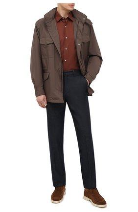 Мужская хлопковая рубашка LORO PIANA коричневого цвета, арт. FAL4417 | Фото 2