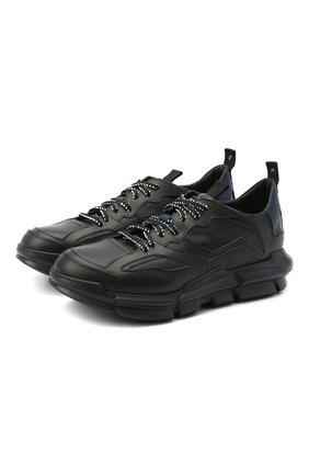 Мужские кожаные кроссовки ATTIMONELLI'S черного цвета, арт. AA402 | Фото 1