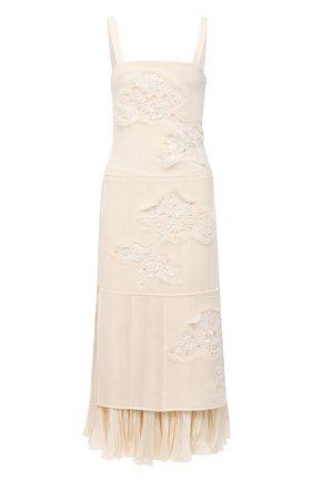 Женское шелковое платье JIL SANDER белого цвета, арт. JSWR506956-WR292900B | Фото 1