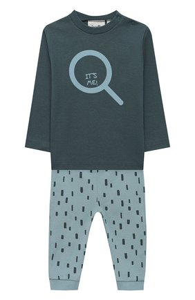 Детский хлопковая пижама SANETTA синего цвета, арт. 12020 | Фото 1