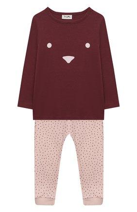Детский хлопковая пижама SANETTA бордового цвета, арт. 12014 | Фото 1