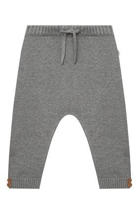 Детские хлопковые брюки SANETTA серого цвета, арт. 10123 | Фото 1