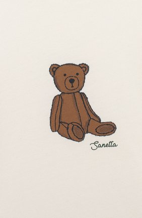 Детский хлопковый лонгслив SANETTA FIFTYSEVEN бежевого цвета, арт. 902089 | Фото 3