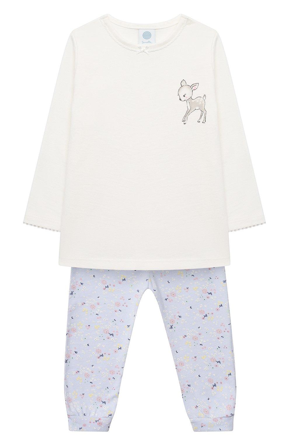 Детский хлопковая пижама SANETTA белого цвета, арт. 221565 | Фото 1