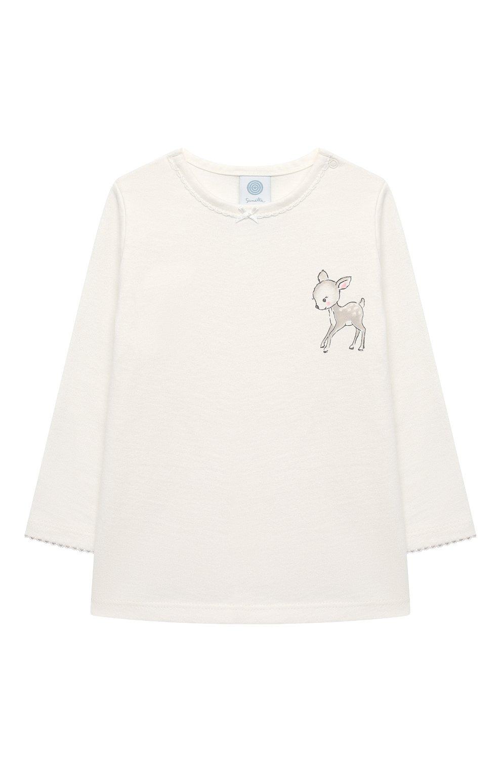 Детский хлопковая пижама SANETTA белого цвета, арт. 221565 | Фото 2
