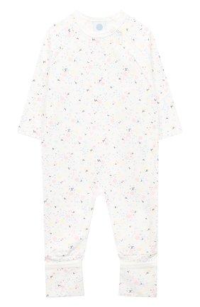 Детский хлопковый комбинезон SANETTA белого цвета, арт. 221564 | Фото 1