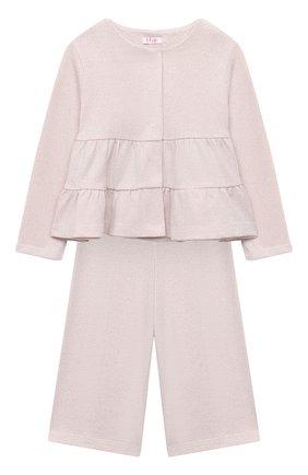 Детский комплект из жакета и брюк IL GUFO розового цвета, арт. A20DP343M0087/5A-8A | Фото 1