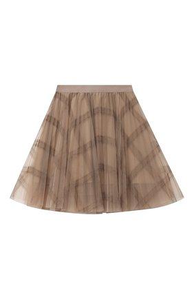 Детская юбка BRUNELLO CUCINELLI бежевого цвета, арт. BA960G026A | Фото 1