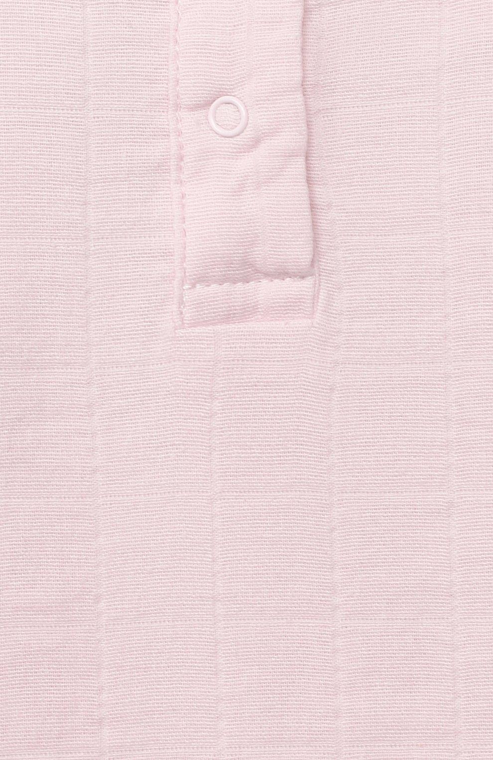 Детский хлопковый лонгслив ADEN+ANAIS розового цвета, арт. 2609G | Фото 3