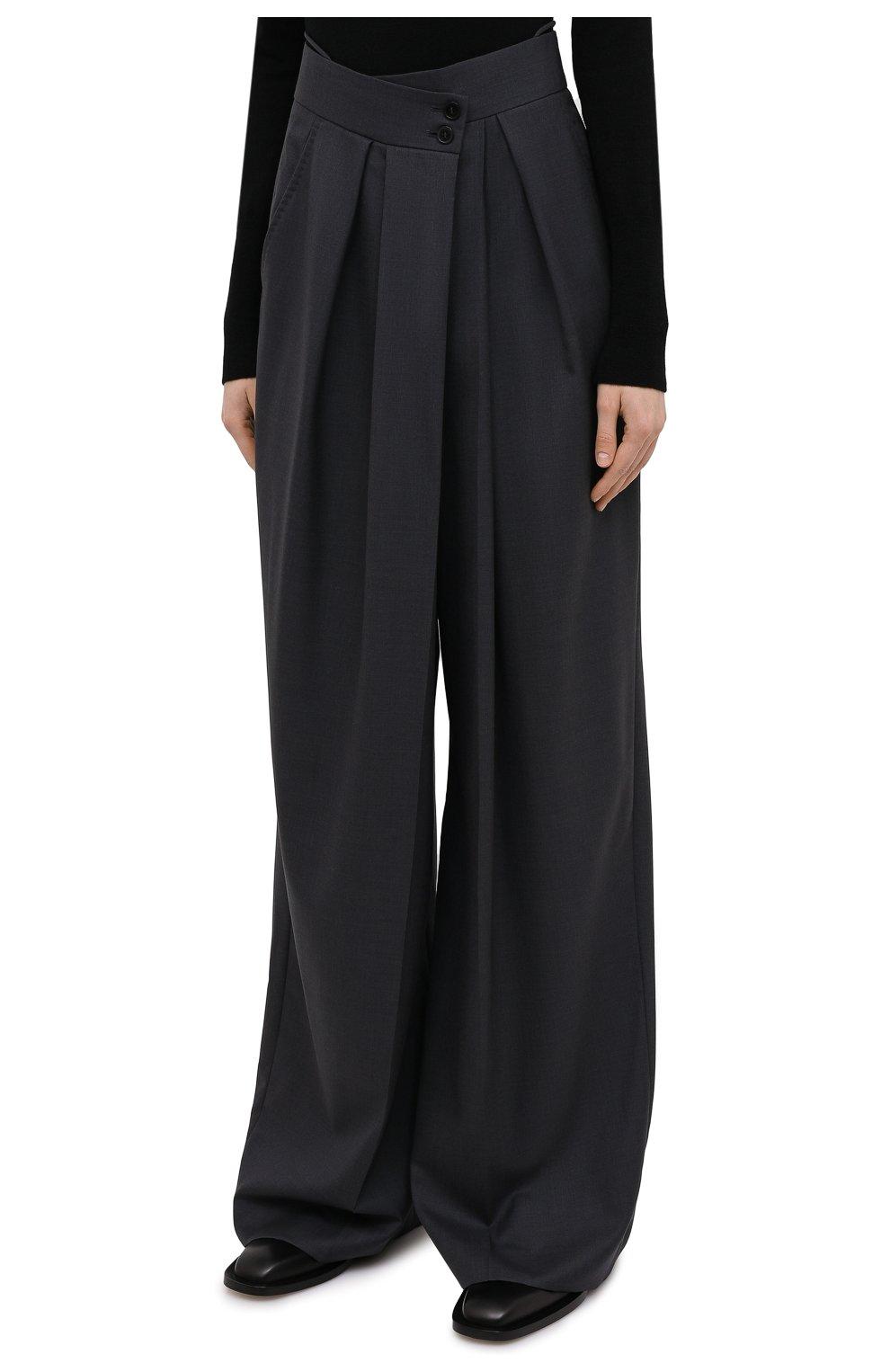 Женские шерстяные брюки PETAR PETROV серого цвета, арт. H0PE F20H9 | Фото 3