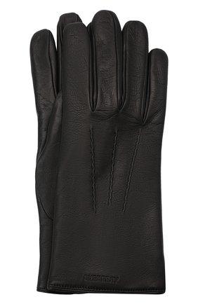 Мужские кожаные перчатки BURBERRY черного цвета, арт. 8035732 | Фото 1