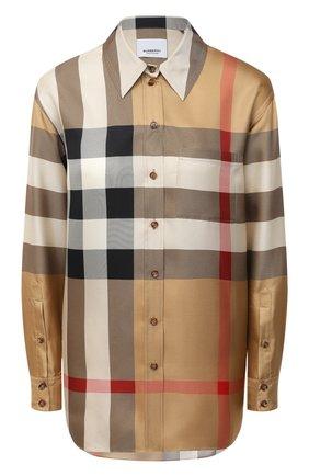 Женская шелковая рубашка BURBERRY бежевого цвета, арт. 8034090 | Фото 1
