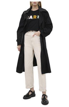 Женская хлопковая футболка MARNI черного цвета, арт. THJEL32ES1/TCY68 | Фото 2