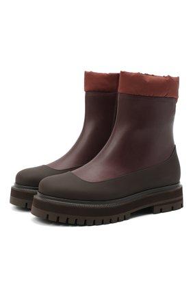 Женские кожаные ботинки LORO PIANA бордового цвета, арт. FAL4228 | Фото 1