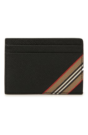 Мужской кожаный футляр для кредитных карт BURBERRY черного цвета, арт. 8033074 | Фото 1