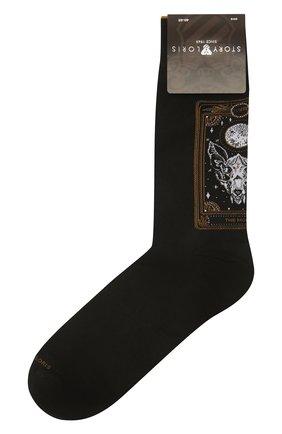 Мужские хлопковые носки STORY LORIS черного цвета, арт. 1005 | Фото 1 (Материал внешний: Хлопок; Кросс-КТ: бельё)