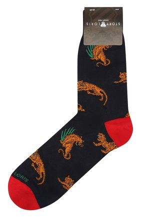 Мужские хлопковые носки STORY LORIS темно-синего цвета, арт. 1063 | Фото 1 (Материал внешний: Хлопок; Кросс-КТ: бельё)
