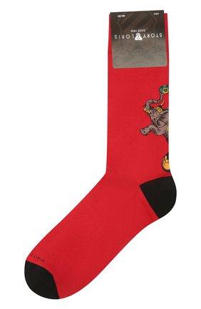 Мужские хлопковые носки STORY LORIS красного цвета, арт. 139 | Фото 1 (Материал внешний: Хлопок; Кросс-КТ: бельё)