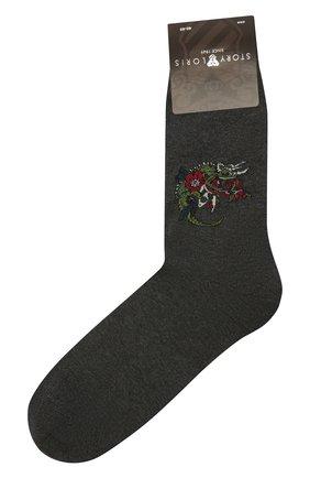 Мужские хлопковые носки STORY LORIS серого цвета, арт. 565 | Фото 1 (Материал внешний: Хлопок; Кросс-КТ: бельё)