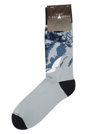 Мужские носки STORY LORIS голубого цвета, арт. 585 | Фото 1 (Материал внешний: Хлопок, Синтетический материал; Кросс-КТ: бельё)