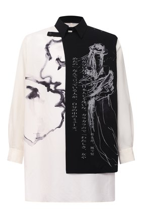Мужская шелковая рубашка YOHJI YAMAMOTO черно-белого цвета, арт. HR-B76-887 | Фото 1