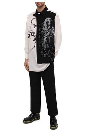 Мужская шелковая рубашка YOHJI YAMAMOTO черно-белого цвета, арт. HR-B76-887 | Фото 2