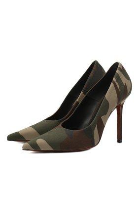 Женская текстильные туфли VETEMENTS зеленого цвета, арт. WAH21HE221 2511 | Фото 1