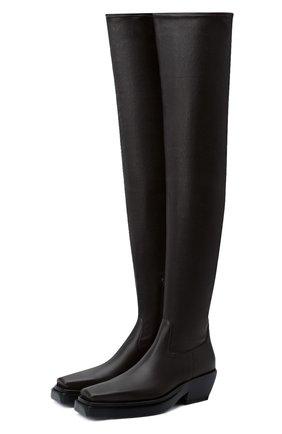 Женские кожаные ботфорты bv lean BOTTEGA VENETA темно-коричневого цвета, арт. 639832/V00M1 | Фото 1