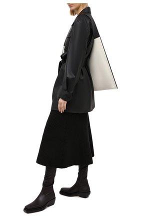Женские кожаные ботфорты bv lean BOTTEGA VENETA темно-коричневого цвета, арт. 639832/V00M1 | Фото 2