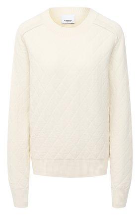 Женский шерстяной свитер BURBERRY белого цвета, арт. 8033699 | Фото 1