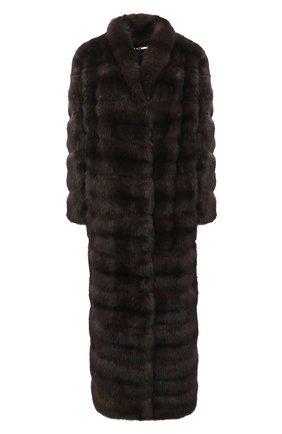 Женская шуба из меха соболя MANZONI24 коричневого цвета, арт. 20M816-Z/38-46 | Фото 1
