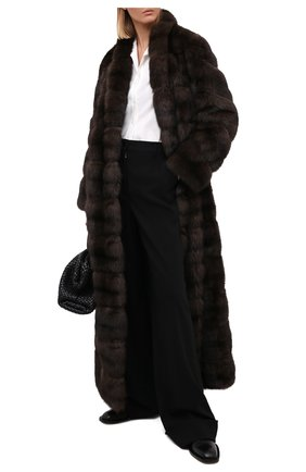 Женская шуба из меха соболя MANZONI24 коричневого цвета, арт. 20M816-Z/38-46 | Фото 2