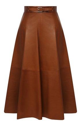 Женская кожаная юбка RALPH LAUREN коричневого цвета, арт. 290815539 | Фото 1