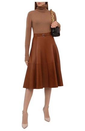 Женская кожаная юбка RALPH LAUREN коричневого цвета, арт. 290815539 | Фото 2