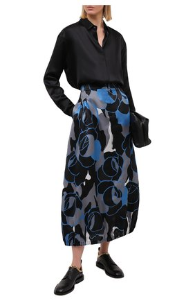 Женская шелковая юбка GIORGIO ARMANI голубого цвета, арт. 0WHNN04D/T0272 | Фото 2