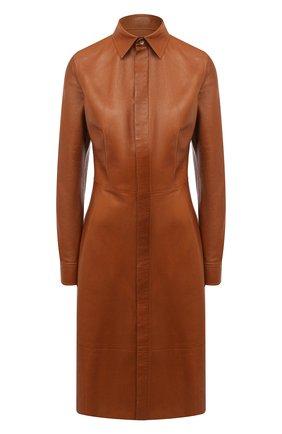 Женское кожаное платье RALPH LAUREN коричневого цвета, арт. 290815917 | Фото 1