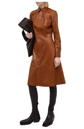 Женское кожаное платье RALPH LAUREN коричневого цвета, арт. 290815917 | Фото 2