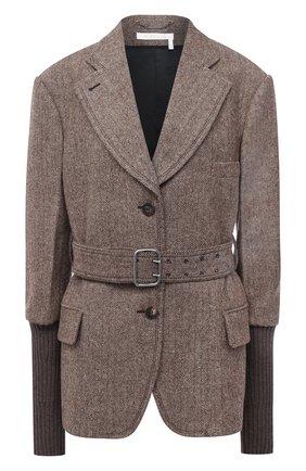 Женский шерстяной жакет CHLOÉ коричневого цвета, арт. CHC20WVE23078 | Фото 1
