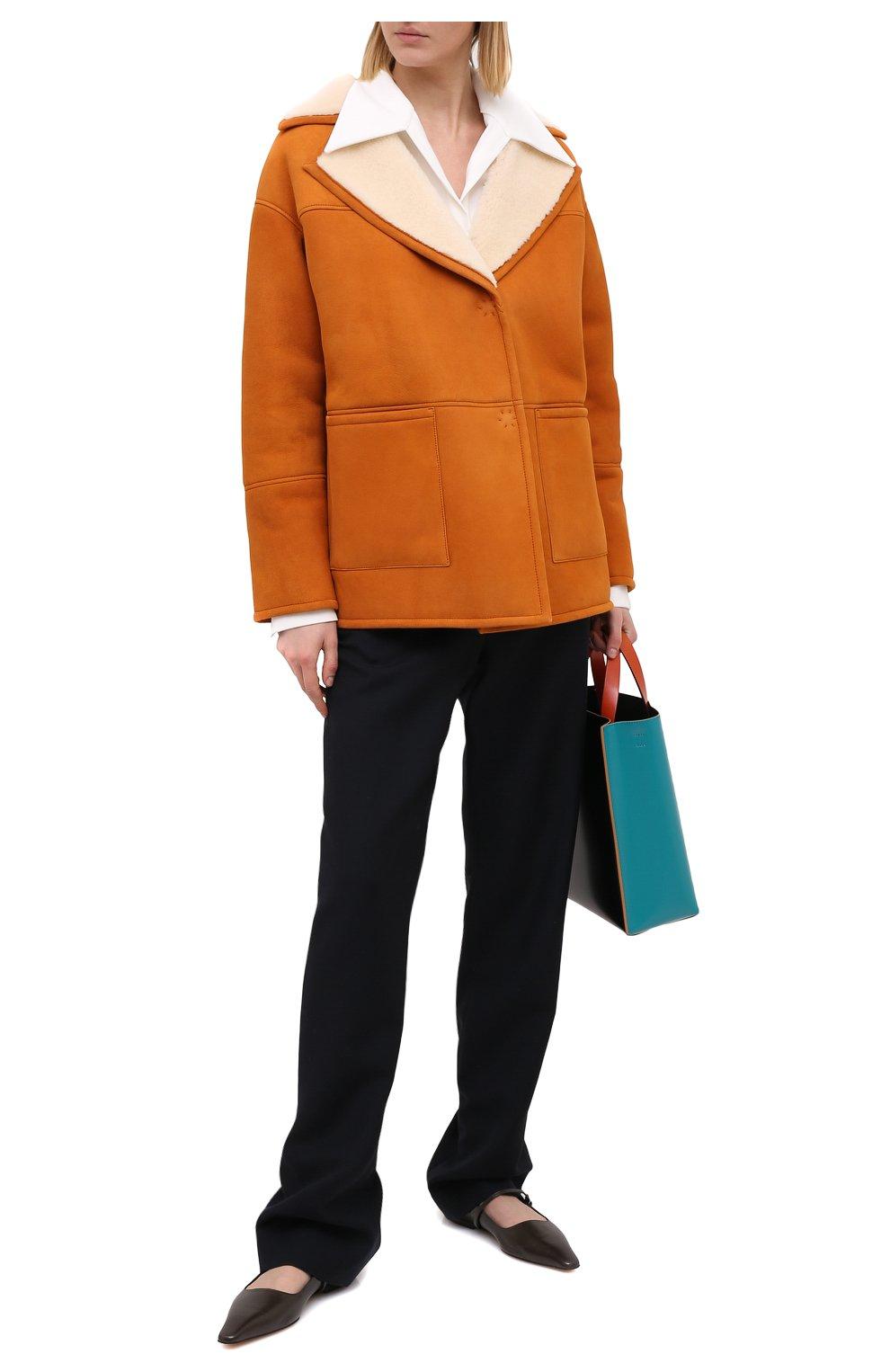 Женская дубленка BLANCHA коричневого цвета, арт. 20094/302/60/SPICE/IV0RY | Фото 2 (Женское Кросс-КТ: Мех, Замша и кожа; Рукава: Длинные; Материал внешний: Натуральный мех; Длина (верхняя одежда): Короткие)