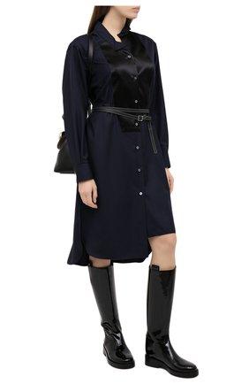 Женское шерстяное платье LOEWE темно-синего цвета, арт. S359335XCX | Фото 2