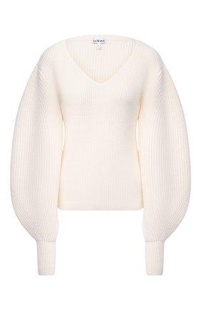 Женский шерстяной свитер LOEWE белого цвета, арт. S540Y14K18 | Фото 1