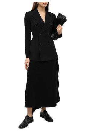 Женская шерстяная юбка YOHJI YAMAMOTO черного цвета, арт. NR-S01-106   Фото 2