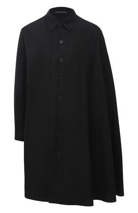 Женская хлопковая рубашка YOHJI YAMAMOTO черного цвета, арт. NR-B04-001 | Фото 1