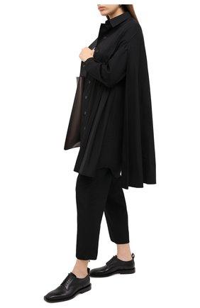 Женская хлопковая рубашка YOHJI YAMAMOTO черного цвета, арт. NR-B04-001 | Фото 2