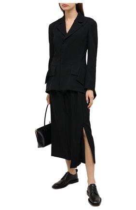 Женская шерстяная юбка YOHJI YAMAMOTO черного цвета, арт. FR-S01-803   Фото 2