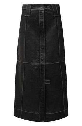 Женская кожаная юбка GANNI черного цвета, арт. F5199 | Фото 1