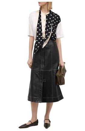 Женская кожаная юбка GANNI черного цвета, арт. F5199 | Фото 2