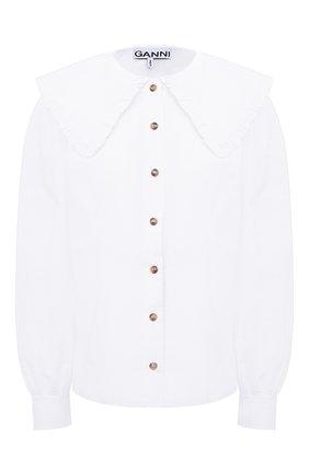 Женская хлопковая блузка GANNI белого цвета, арт. F5500 | Фото 1