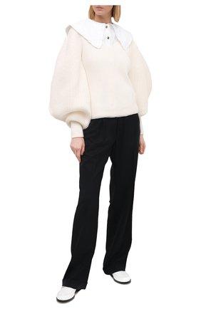 Женская хлопковая блузка GANNI белого цвета, арт. F5500 | Фото 2